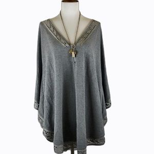 Anthro Liberty Garden gray poncho tunic